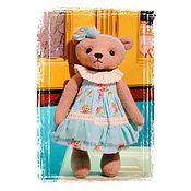 Куклы и игрушки ручной работы. Ярмарка Мастеров - ручная работа Мишка Тедди в бирюзовом платье. Handmade.