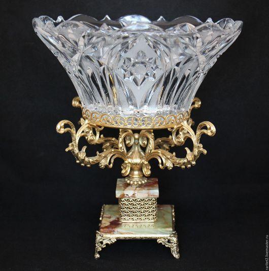 Винтажная посуда. Ярмарка Мастеров - ручная работа. Купить Ваза латунь бронза хрусталь оникс золото Франция 39. Handmade.