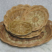 Посуда handmade. Livemaster - original item Set wicker plates for the kitchen (4 PCs). Handmade.