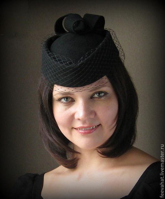 """Шляпы ручной работы. Ярмарка Мастеров - ручная работа. Купить Шляпка таблетка """"Анна"""". Handmade. Черный, шляпа таблетка"""