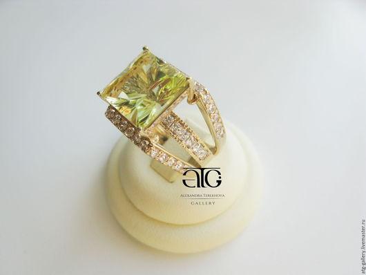 Статусное кольцо с роскошным цитрином авторской огранки 7.71 Carat!