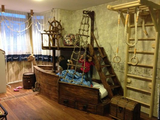 Детская ручной работы. Ярмарка Мастеров - ручная работа. Купить Пиратский корабль. Handmade. Детская кровать, индивидуальный дизайн, массив