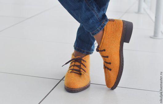 Обувь ручной работы. Ярмарка Мастеров - ручная работа. Купить Туфли валяные MUSTARD. Handmade. Желтый, туфли, туфли валяные