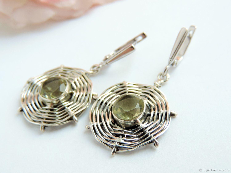 Ярмарка Мастеров. Подарок · Серьги ручной работы. Серебряные серьги с  зеленым аметистом. Bijur. a3b3d227794