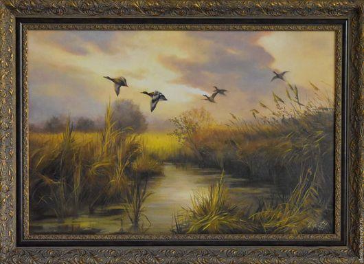 Пейзаж ручной работы. Ярмарка Мастеров - ручная работа. Купить Охотничий пейзаж. Handmade. Пейзаж, охотничий стиль, река, оранжевый