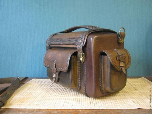 Мужские сумки ручной работы. Ярмарка Мастеров - ручная работа. Купить сумка (кофр) из натуральной кожи. Handmade. Коричневый