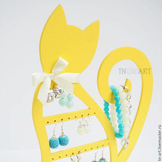 Мини-комоды ручной работы. Ярмарка Мастеров - ручная работа. Купить Кошечка желтая - подставка для бижутерии. Handmade. Подставка для украшений