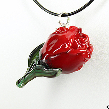 Украшения ручной работы. Ярмарка Мастеров - ручная работа Кулон цветок из стекла Красный тюльпан. Лэмпворк, серебро, алый черный. Handmade.