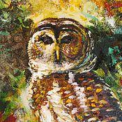 Картины и панно ручной работы. Ярмарка Мастеров - ручная работа Хозяйка леса картина маслом на холсте, сова, лес. Handmade.