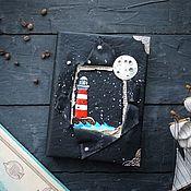 Канцелярские товары handmade. Livemaster - original item Notepad with lighthouse and full moon. Handmade.