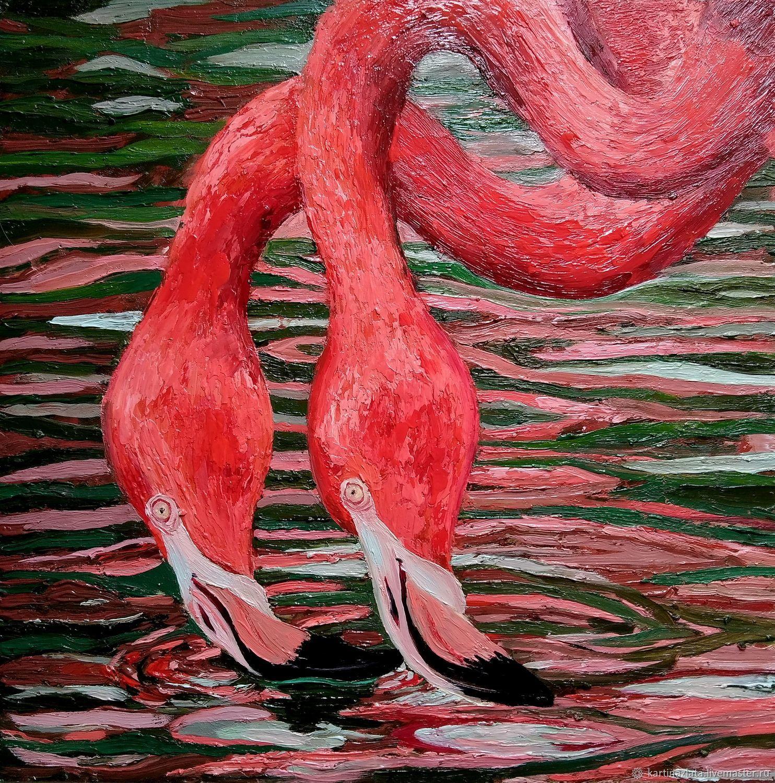 Оригинальная картина с фламинго
