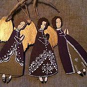 Подарки к праздникам ручной работы. Ярмарка Мастеров - ручная работа Ангел рождественский - фиолетовый. Handmade.