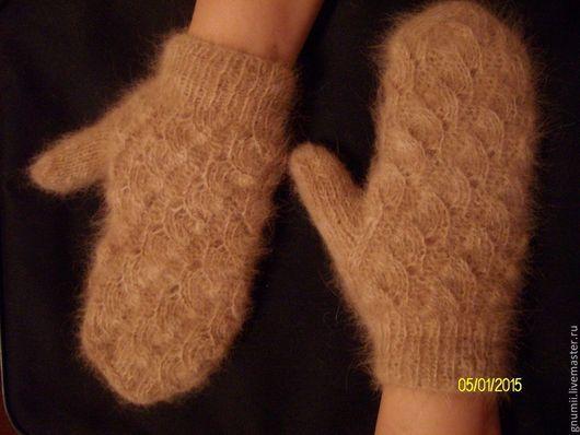 Варежки, митенки, перчатки ручной работы. Ярмарка Мастеров - ручная работа. Купить варежки из собачьей шерсти. Handmade. Бежевый