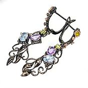 Украшения handmade. Livemaster - original item Sold.Silver earrings with amethyst, Topaz, chrysolite. Handmade.