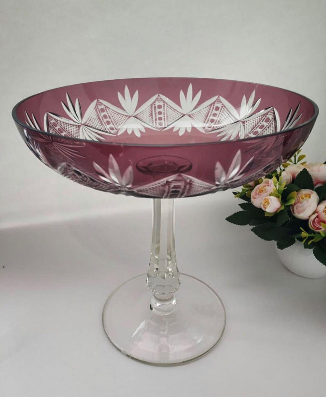 Высокая винтажная ваза, марганцевое стекло, Вазы, Сочи,  Фото №1