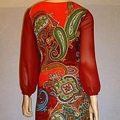Одежда ручной работы. Ярмарка Мастеров - ручная работа Платье из джерси с шифоновыми рукавами. Handmade.