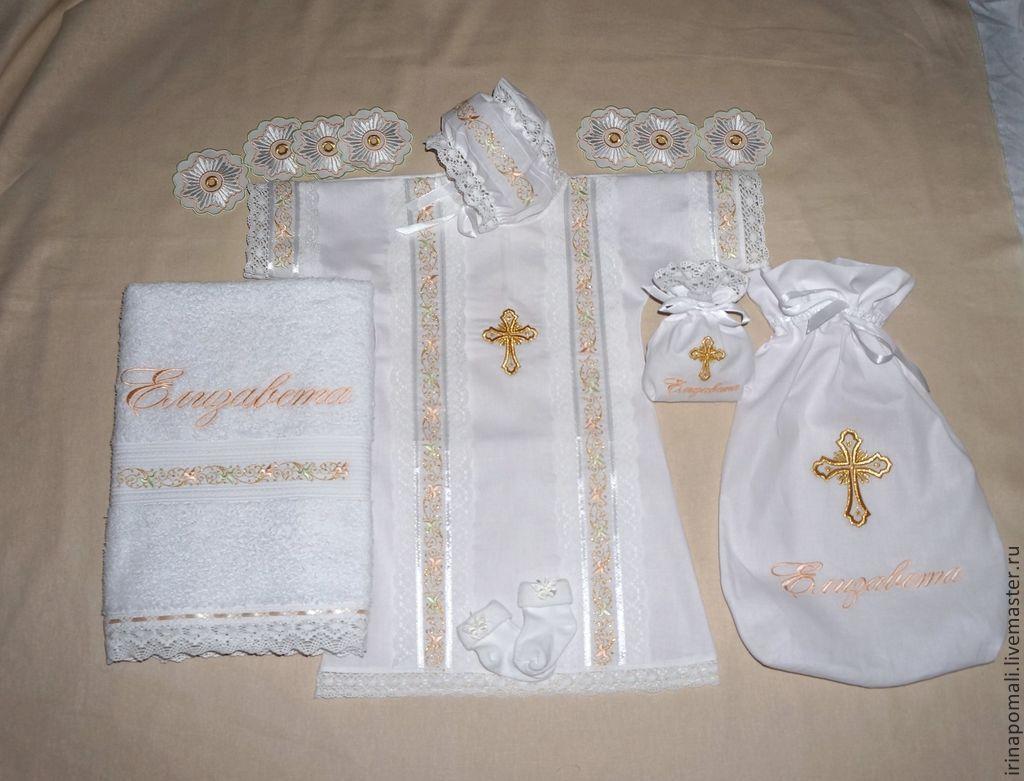 Вышивка на крестильной рубашке девочке 14