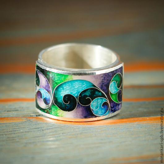 """Кольца ручной работы. Ярмарка Мастеров - ручная работа. Купить Кольцо """"Весна"""" из серебра с эмалью. Минанкари. Handmade. Разноцветный, серебряный"""