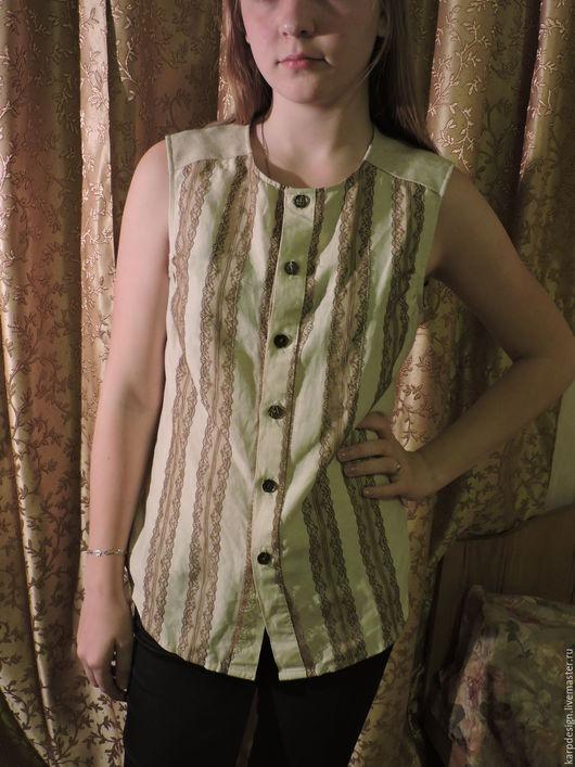 """Блузки ручной работы. Ярмарка Мастеров - ручная работа. Купить Блуза-жилет """"Лен"""". Handmade. Оливковый, Декор, хлопок, кружева"""