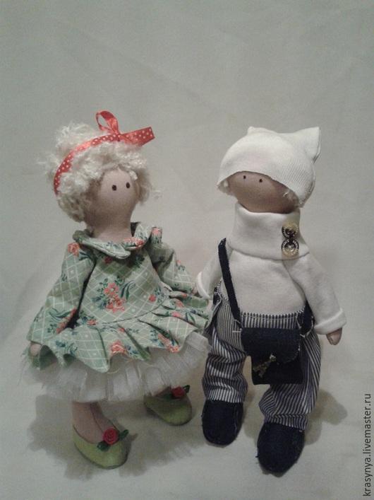 Куклы тыквоголовки ручной работы. Ярмарка Мастеров - ручная работа. Купить кукла большеножка. Handmade. Разноцветный, синий, трикотаж
