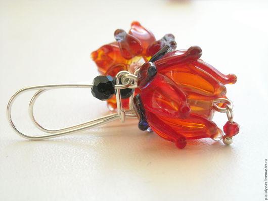 """Серьги ручной работы. Ярмарка Мастеров - ручная работа. Купить Серьги лэмпворк """" пламенный цветок"""". Handmade. Ярко-красный"""