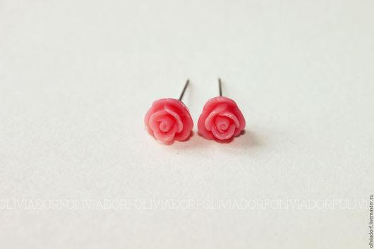 Серьги ручной работы. Ярмарка Мастеров - ручная работа. Купить Пуссеты с маленькими розами. Handmade. Комбинированный, розы
