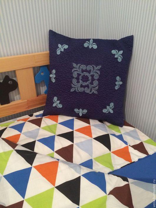 Текстиль, ковры ручной работы. Ярмарка Мастеров - ручная работа. Купить Наволочка на подушку. Handmade. Тёмно-синий, подарок на новый год