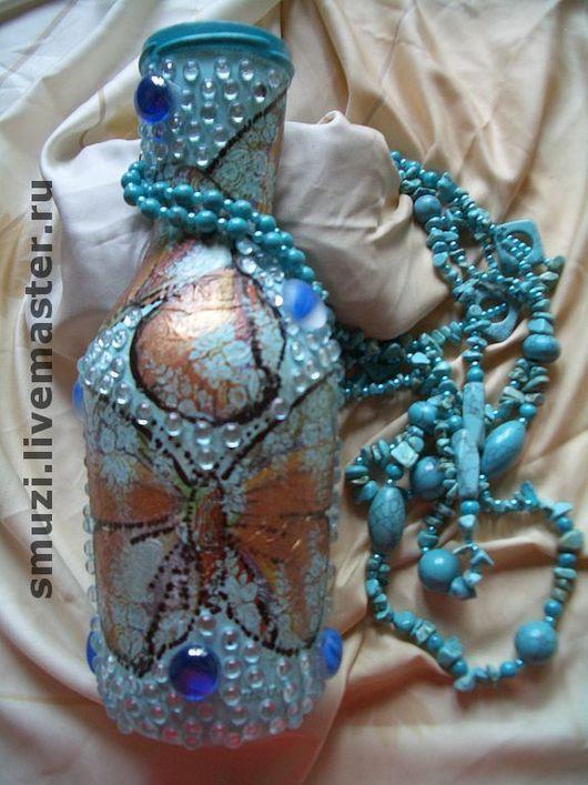 Подарочное оформление бутылок ручной работы. Ярмарка Мастеров - ручная работа. Купить ЛАЗУРЬ  вазочка  (без содержимого). Handmade.
