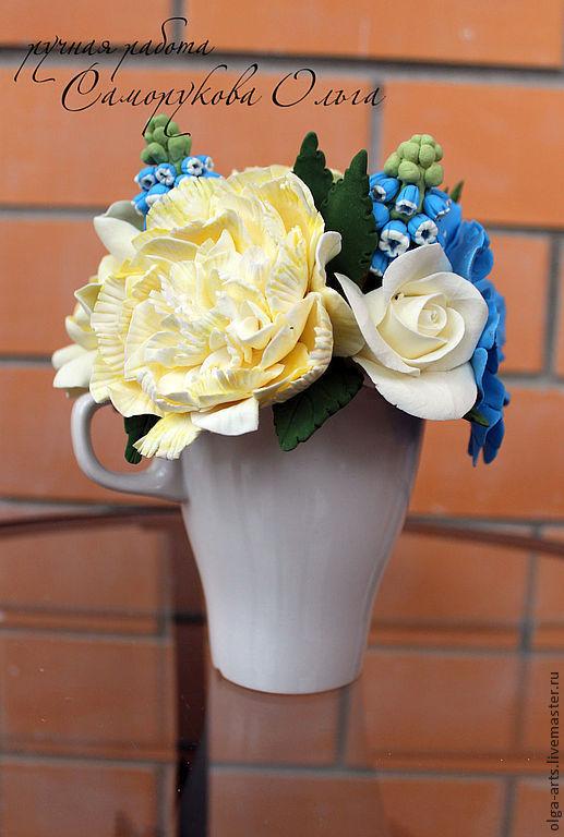 Букеты ручной работы. Ярмарка Мастеров - ручная работа. Купить Букет с первоцветами в чашке. Handmade. Цветы, интерьерный букет