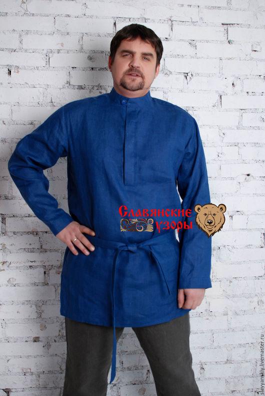 Этническая одежда ручной работы. Ярмарка Мастеров - ручная работа. Купить Рубаха Праздничная синяя. Handmade. Тёмно-синий, рубашка