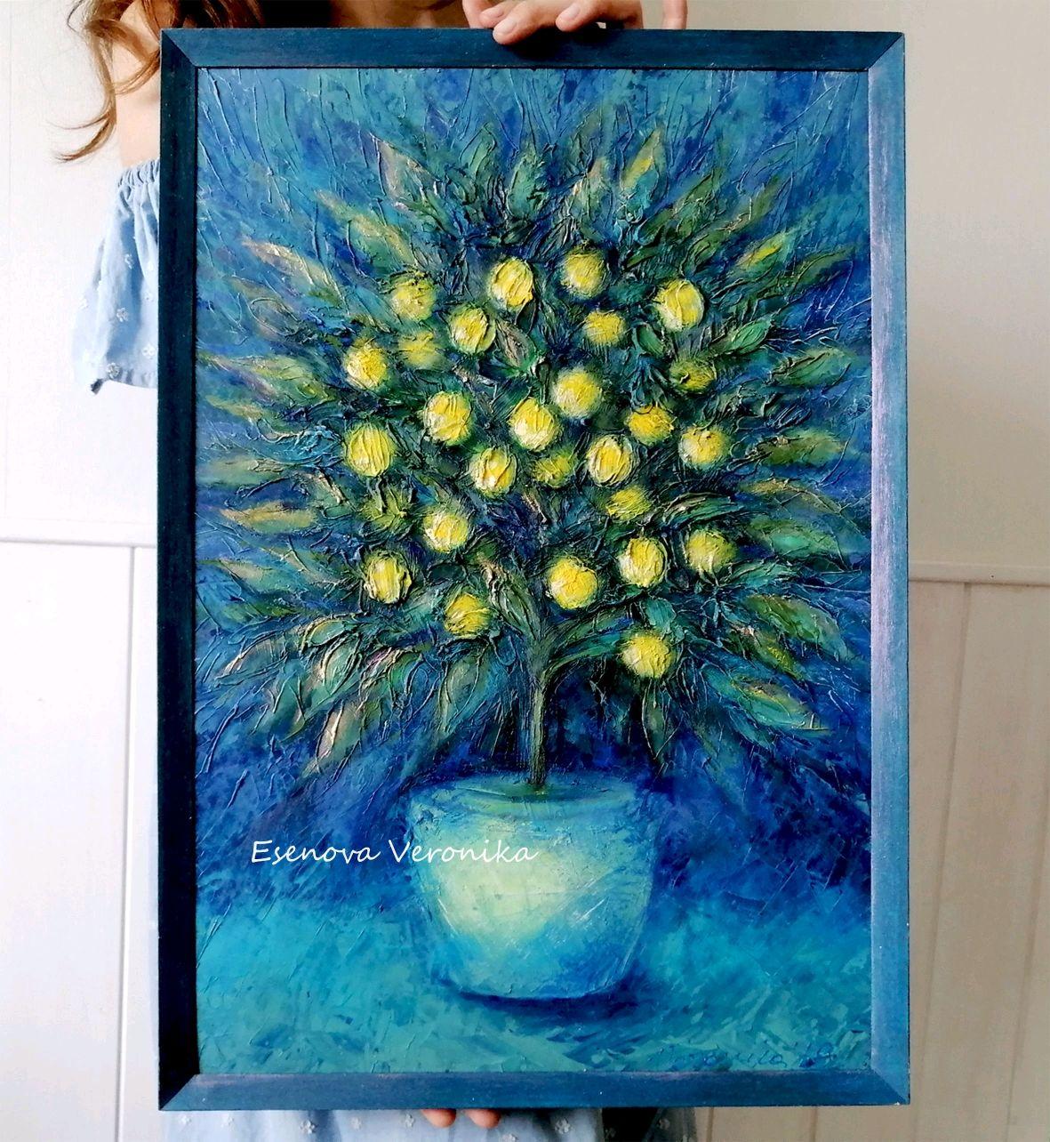 Картина в раме Лимонное дерево Абстракция масло акрил подарок женщине, Картины, Тольятти, Фото №1