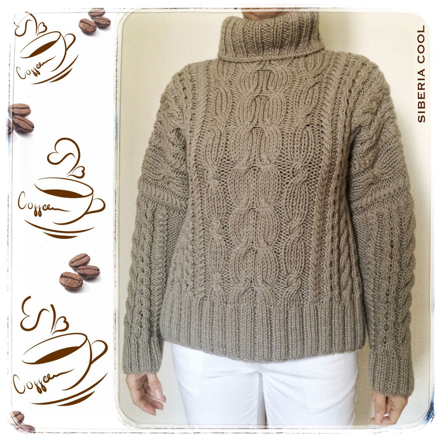 Womens Sweater Coffee With Milk Gray Beige Braids Oversized 100 Wool Shop Online On Livemaster With Shipping
