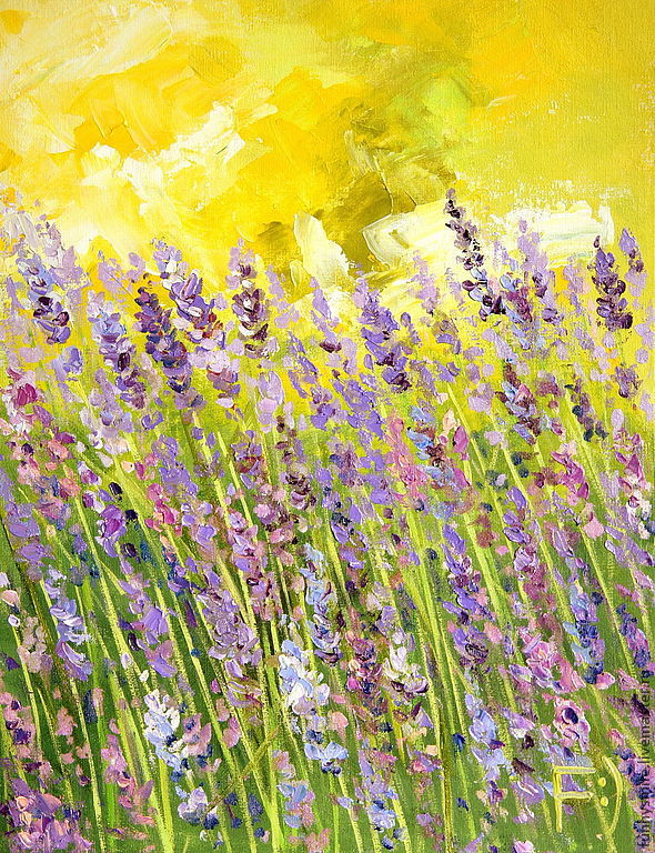 Oil painting on canvas. Lavender in the field, Pictures, Moscow,  Фото №1