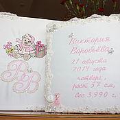 Подарки к праздникам handmade. Livemaster - original item Gift for newborn girl - personalized photo album in a box.. Handmade.