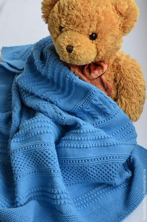 Пледы и одеяла ручной работы. Ярмарка Мастеров - ручная работа. Купить Плед детский вязаный. Handmade. Синий, плед для новорожденного