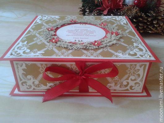Новый год 2017 ручной работы. Ярмарка Мастеров - ручная работа. Купить Рождественская коробка для подарка. Handmade. Ярко-красный