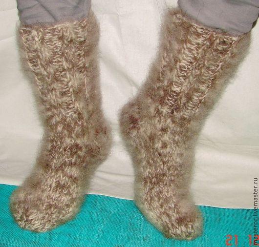 Носки  вязанные ручной работы . Носки из собачьей шерсти (пуха) размер 42-43 Живая нитка  Носочки толстые  теплые пуховые арт№27м из собачьего пуха