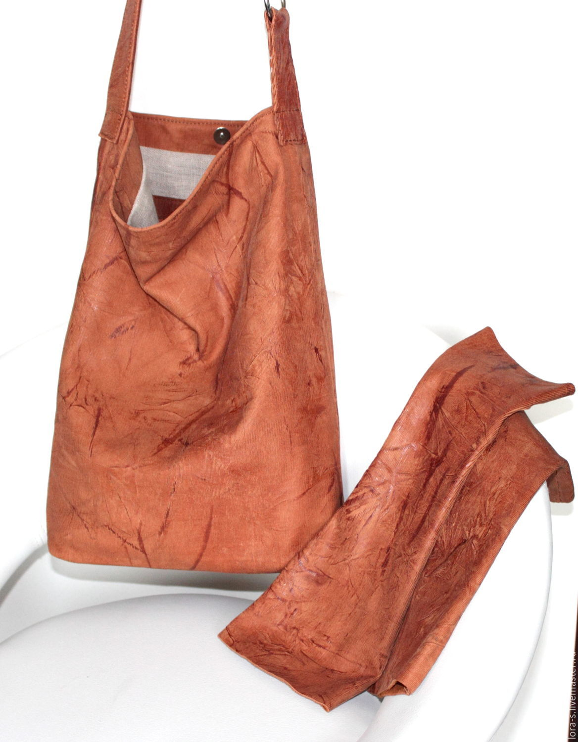 Bag and mitts 'Spring Fantasy', set of leather in red tones, Classic Bag, Dusseldorf,  Фото №1