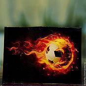 """Сувениры и подарки ручной работы. Ярмарка Мастеров - ручная работа Кожаная обложка для паспорта """"Футбольный мяч"""". Handmade."""