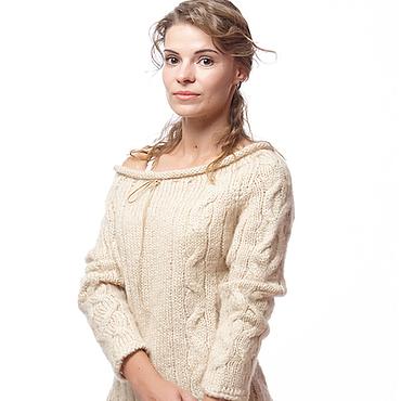 """Одежда ручной работы. Ярмарка Мастеров - ручная работа Вязаный свитер  """"Journey"""" из мохера с косами. Handmade."""