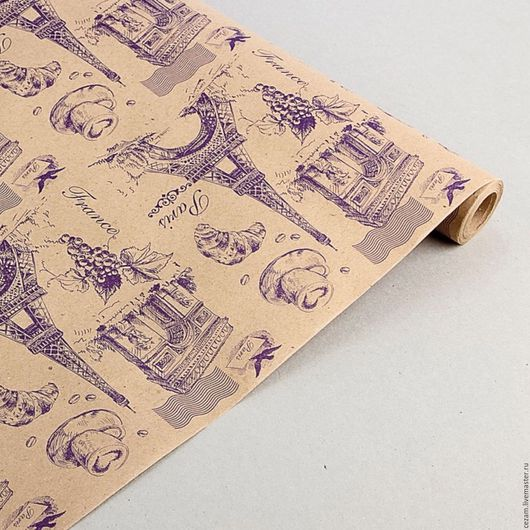 "Упаковка ручной работы. Ярмарка Мастеров - ручная работа. Купить Бумага крафт ""Париж"" фиолетовая. Handmade. Крафт-бумага"