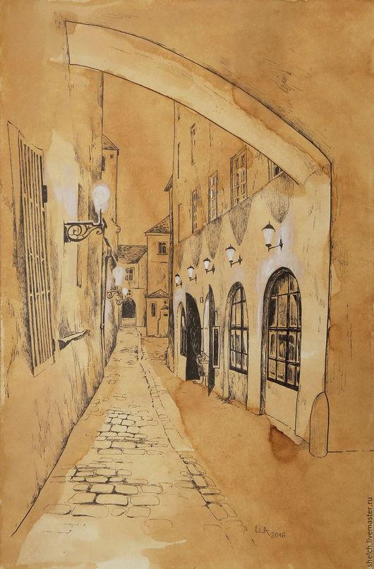 Город ручной работы. Ярмарка Мастеров - ручная работа. Купить картина Старая Прага. Улочки (графика, старый город). Handmade.