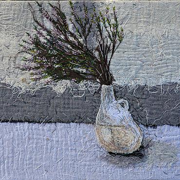 Картины и панно ручной работы. Ярмарка Мастеров - ручная работа Текстильная картина Вереск в вазе. Handmade.