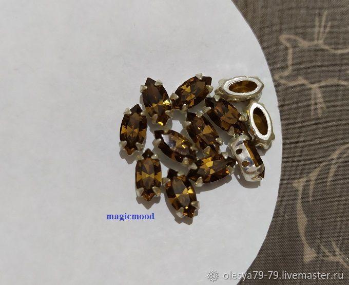 1pc Czech rhinestones 10h5mm Smoke Topaz Navette Czech rhinestones in DAC, Rhinestones, Chelyabinsk,  Фото №1