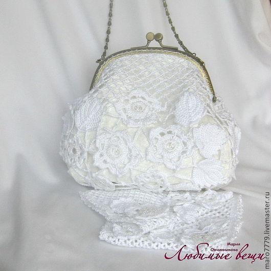 Вязаная белая маленькая сумочка для невесты, свадебная сумочка, ажурная, ирландское кружево, сумочка с фермуаром к вечернему наряду, вечерняя дамская сумочка, митенки для невесты