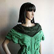 Одежда handmade. Livemaster - original item Two-tone tank top with braids in shades of green. Handmade.
