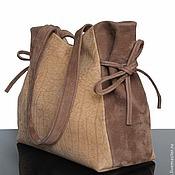 Сумки и аксессуары handmade. Livemaster - original item Bag suede, beige, shopper. Handmade.