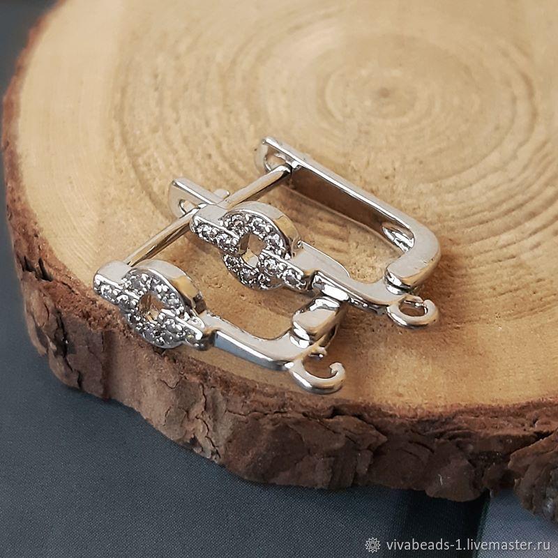 Earrings with cubic Zirconia 15,5 mm platinum (4515), Schwenzy, Voronezh,  Фото №1