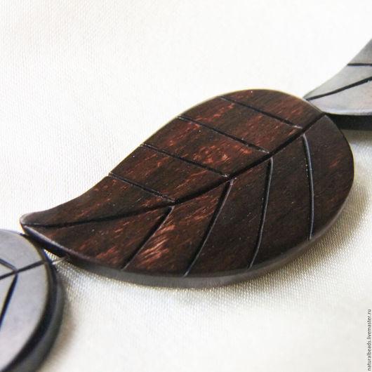 Для украшений ручной работы. Ярмарка Мастеров - ручная работа. Купить ЛИСТ тигровое эбеновое дерево крупная бусина 45 мм. Handmade.