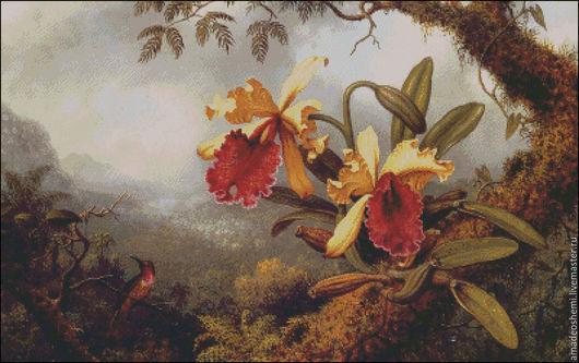 """Пейзаж ручной работы. Ярмарка Мастеров - ручная работа. Купить Схема для вышивки крестом """"Дикая орхидея"""". Handmade. Вышивка"""